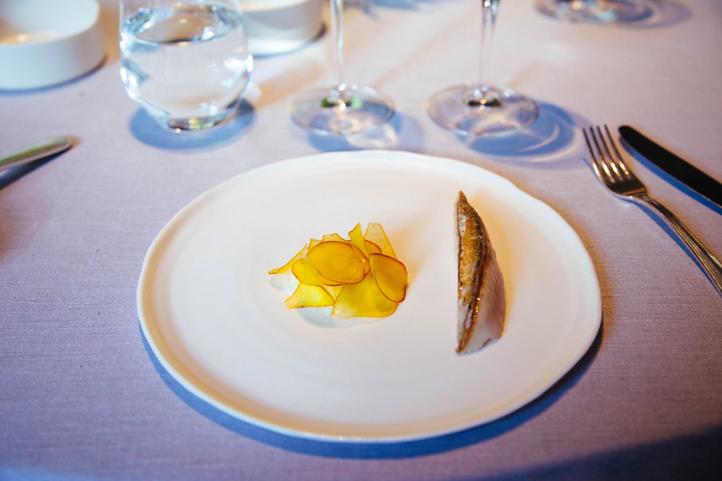 Hot and cold mackerel, yellow beets and lemon verbena
