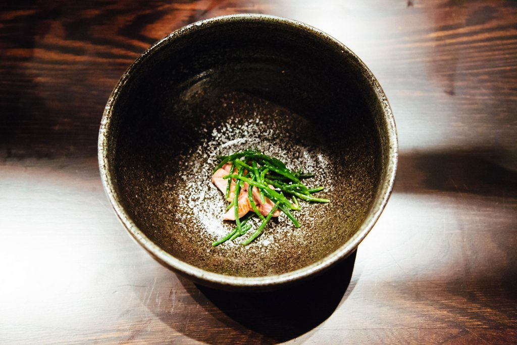 Meat—oyster/parsley/tallow emulsion, oxtongue, salicornia and lemon oil