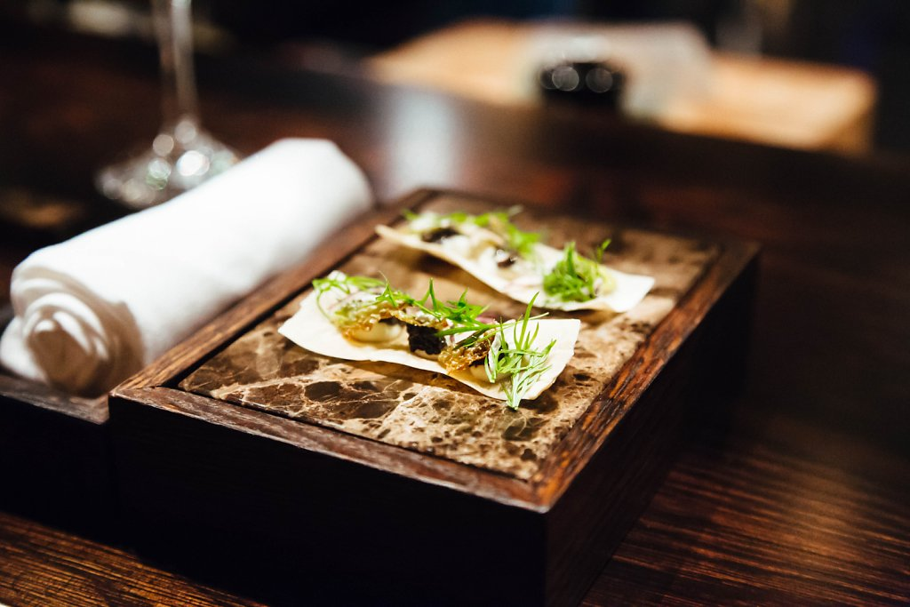 Chips—Savoy. Smoked sour cream, sturgeon caviar, dried onion and fennel cress