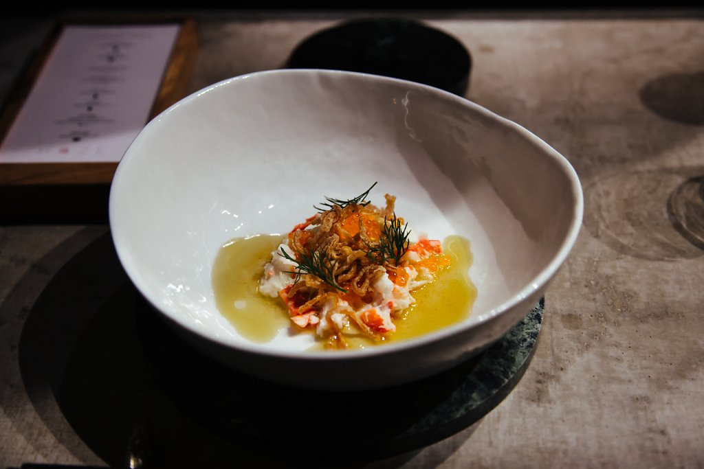 King crab, yogurt, dill, butter, onions and trout roe