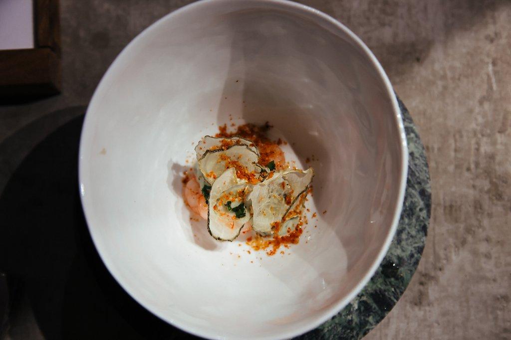 Northern shrimp, dill emulsion, dried pickles and shrimp powder