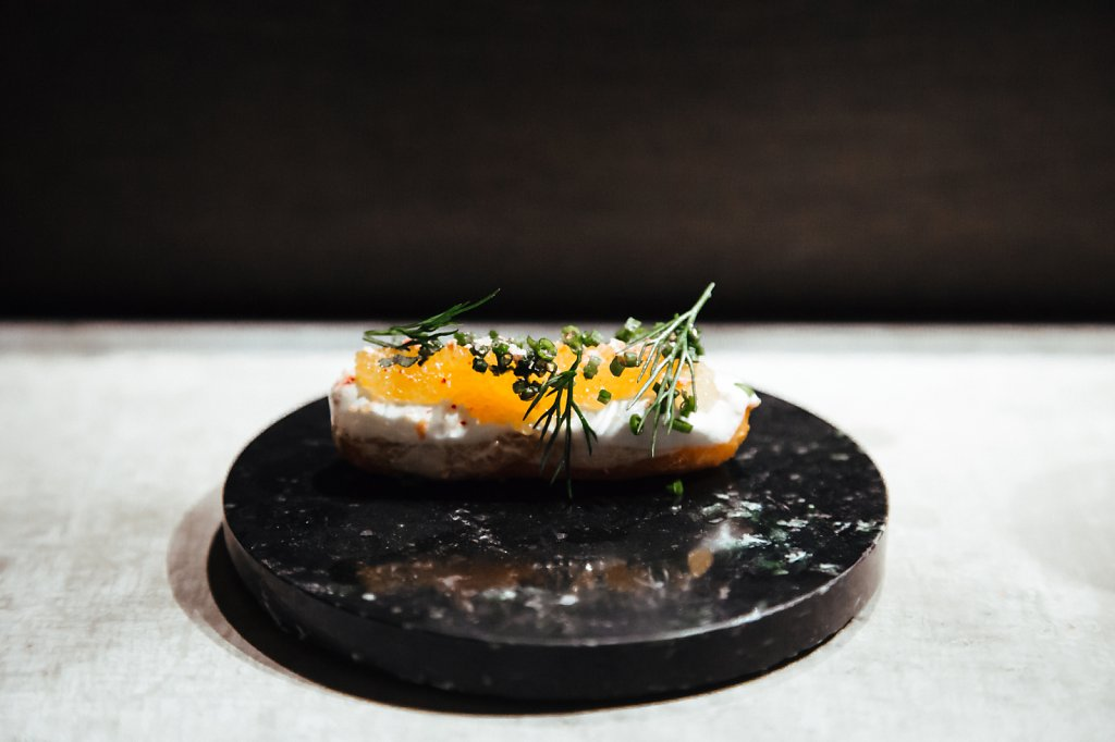 churro, roe, dill, chives, sour cream and red onion salt