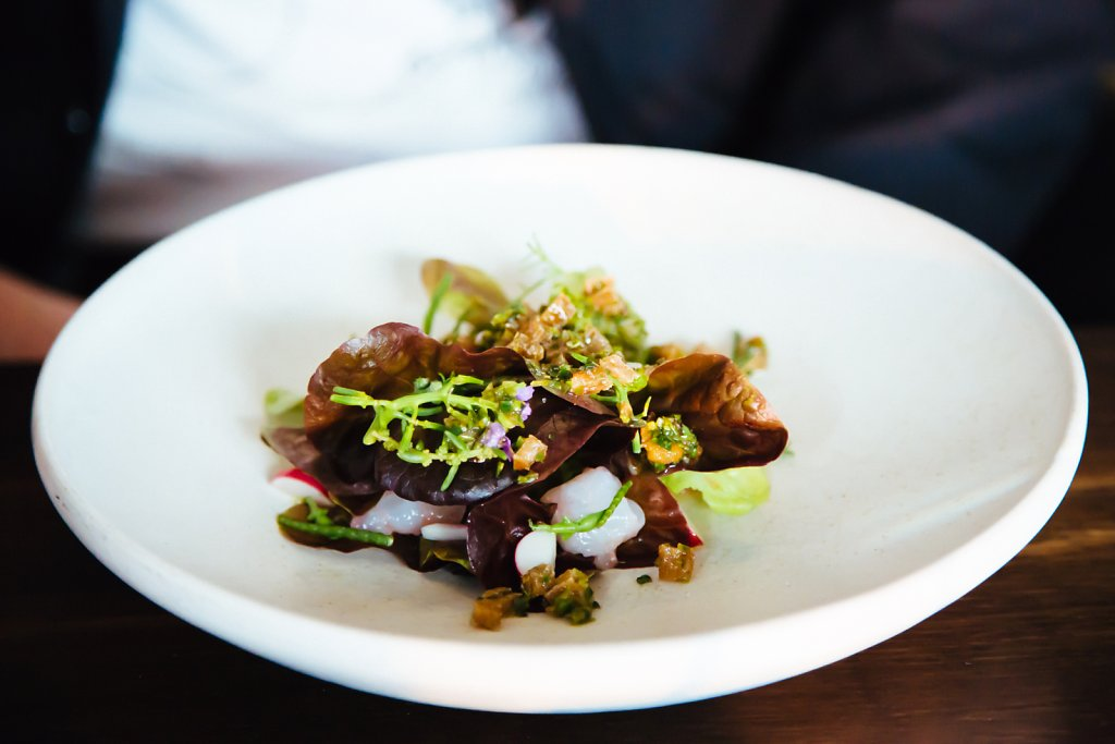 Red lettuce, roasted chicken skins, langoustine and beach plants